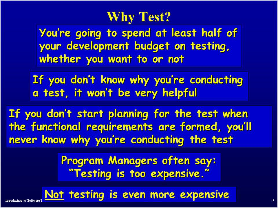 Program Managers often say: Testing is too expensive.