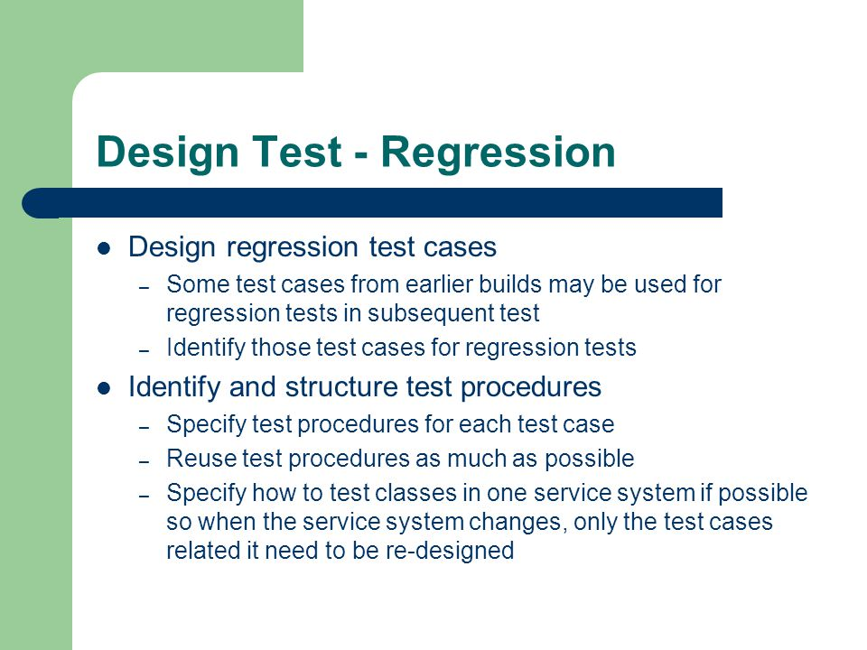 Design Test - Regression