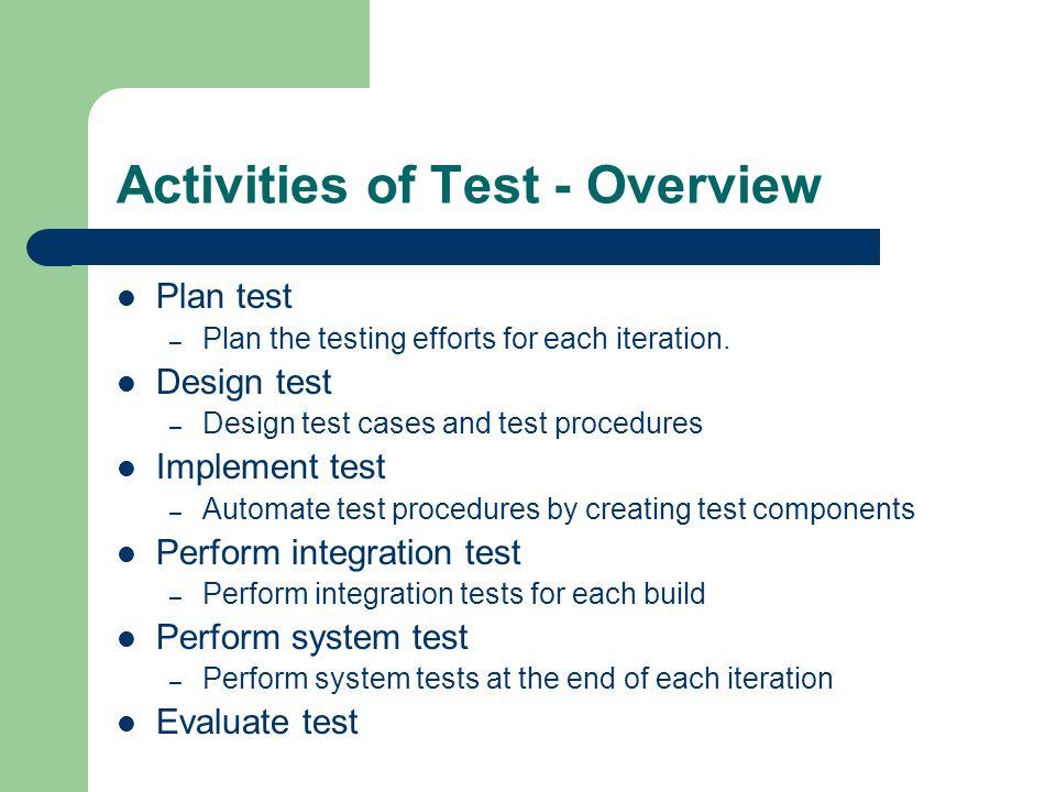 Activities of Test - Overview