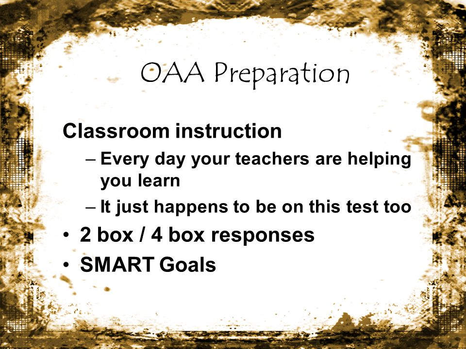 OAA Preparation Classroom instruction 2 box / 4 box responses