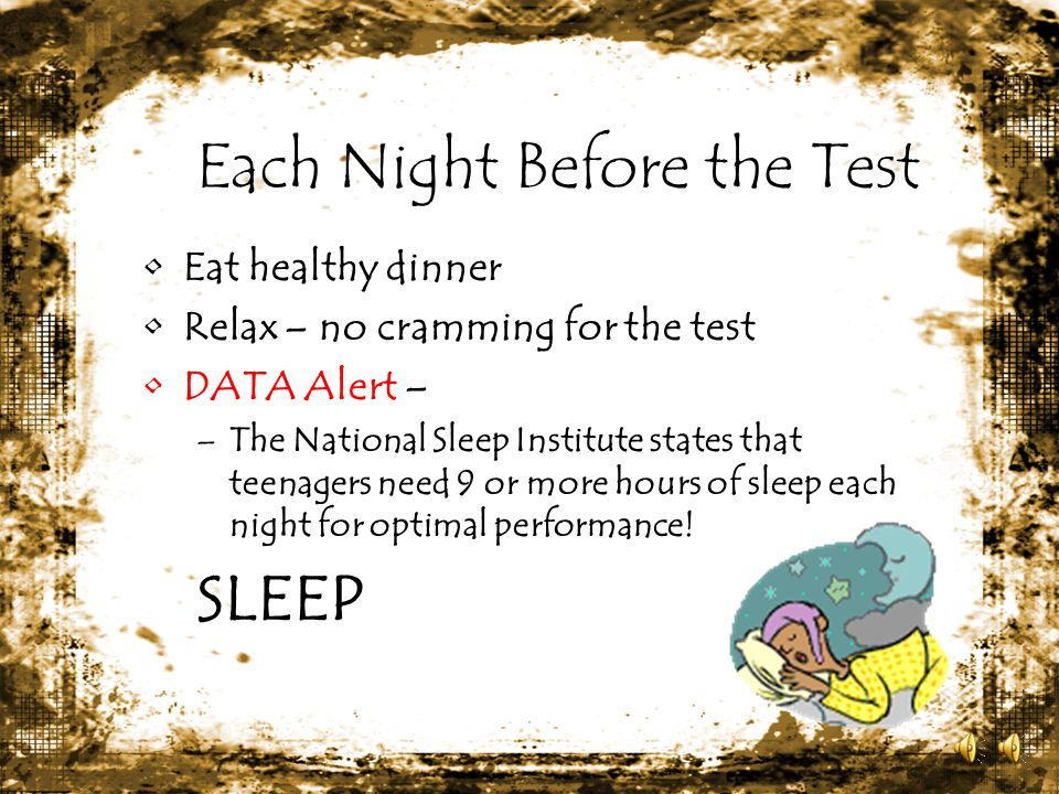 Each Night Before the Test