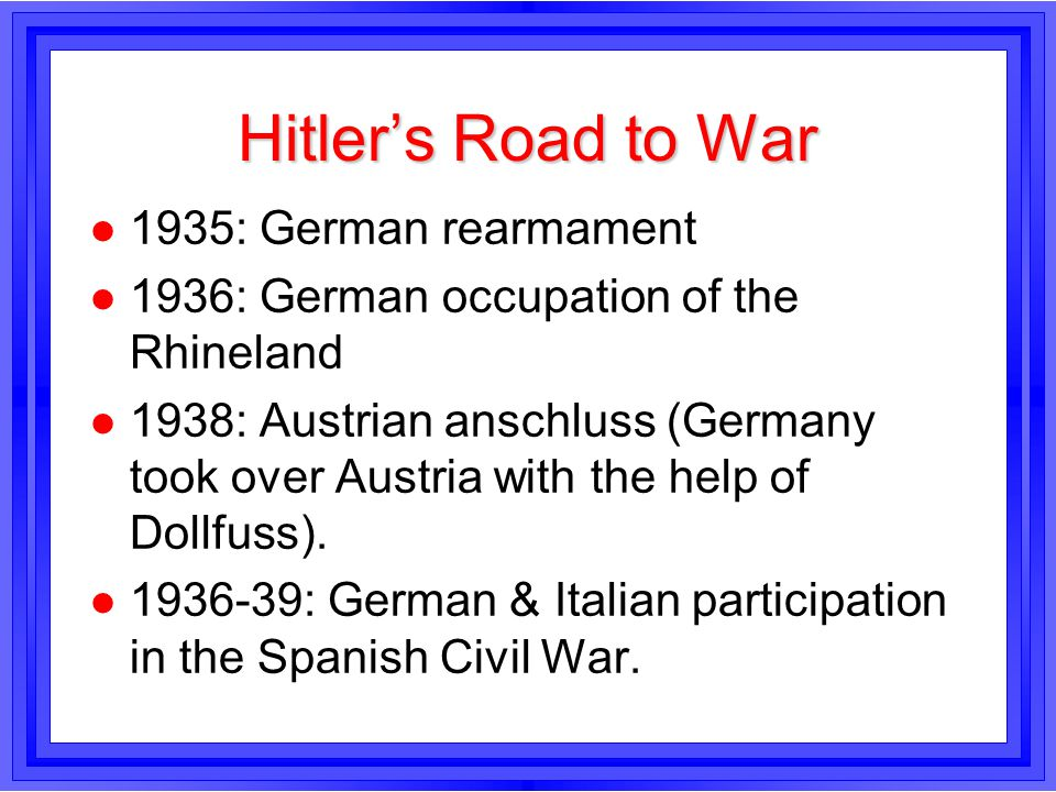 Hitler's Road to War 1935: German rearmament