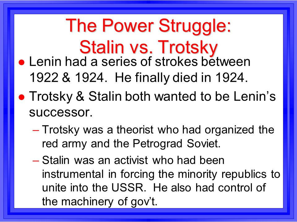 The Power Struggle: Stalin vs. Trotsky