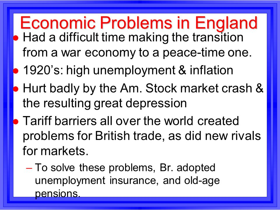 Economic Problems in England