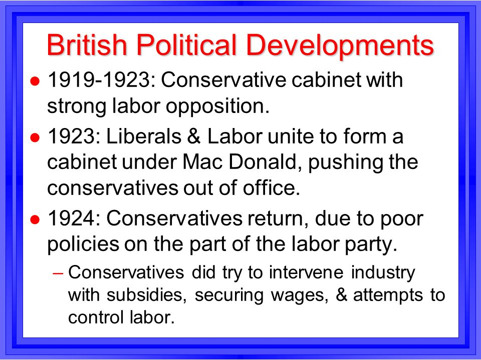 British Political Developments