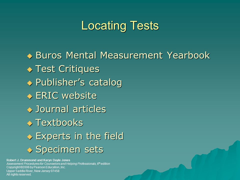 Locating Tests Buros Mental Measurement Yearbook Test Critiques