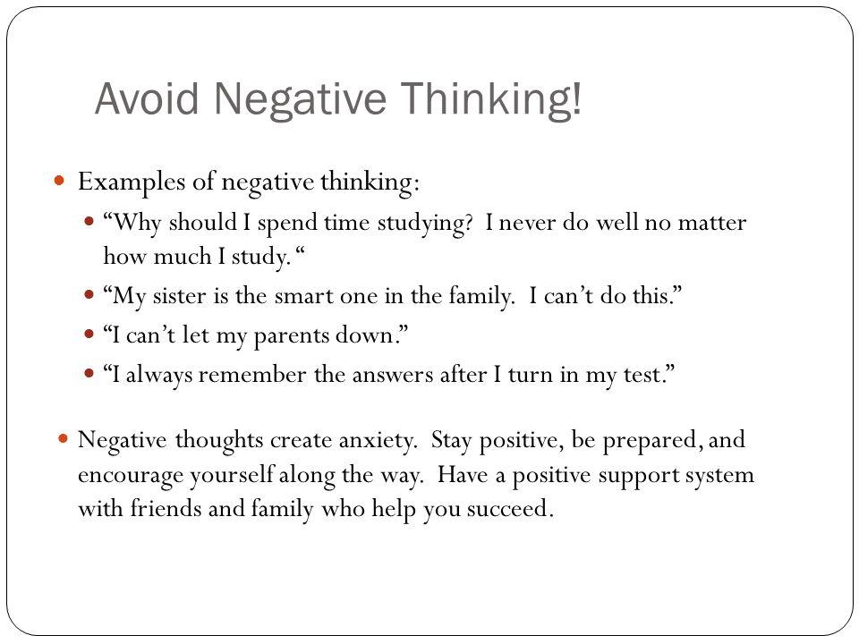 Avoid Negative Thinking!