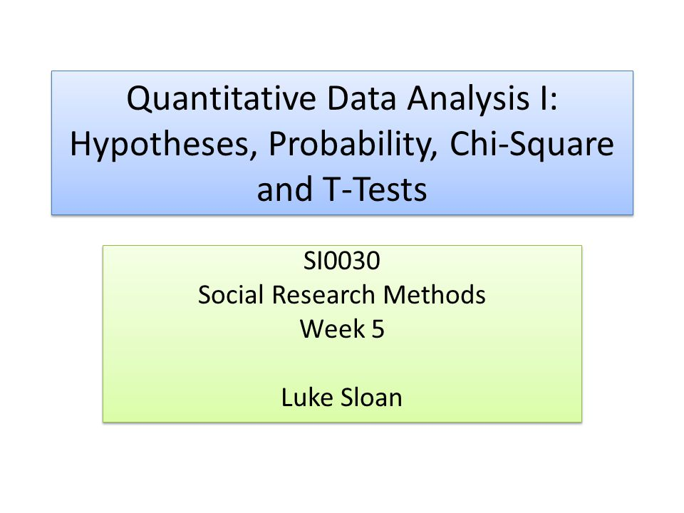 SI0030 Social Research Methods Week 5 Luke Sloan