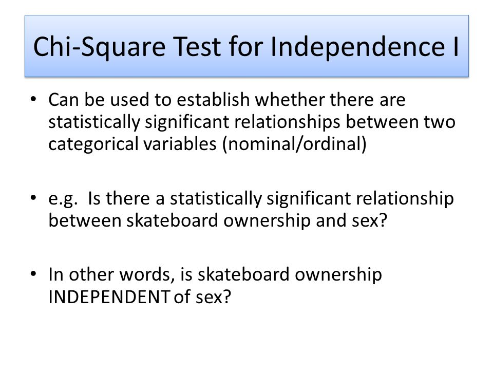 Chi-Square Test for Independence I