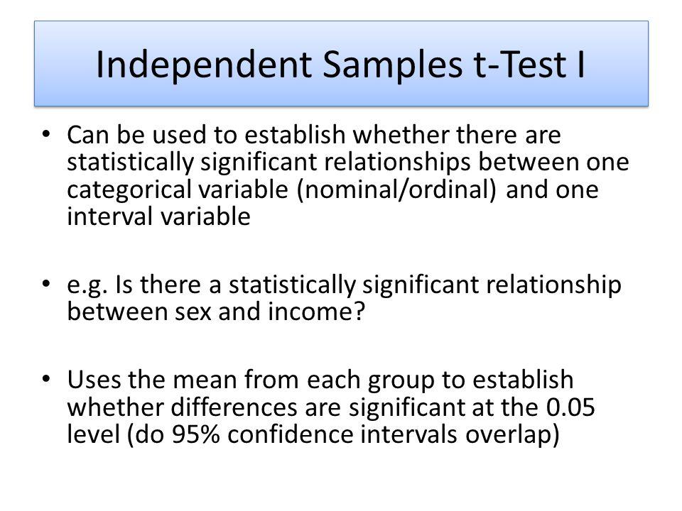 Independent Samples t-Test I