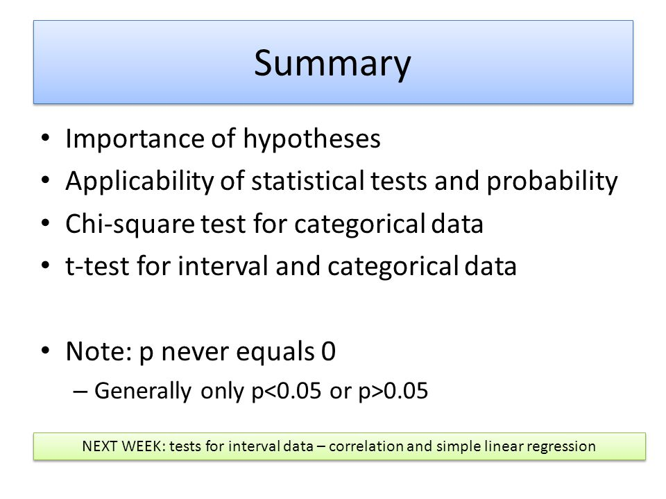 Summary Importance of hypotheses