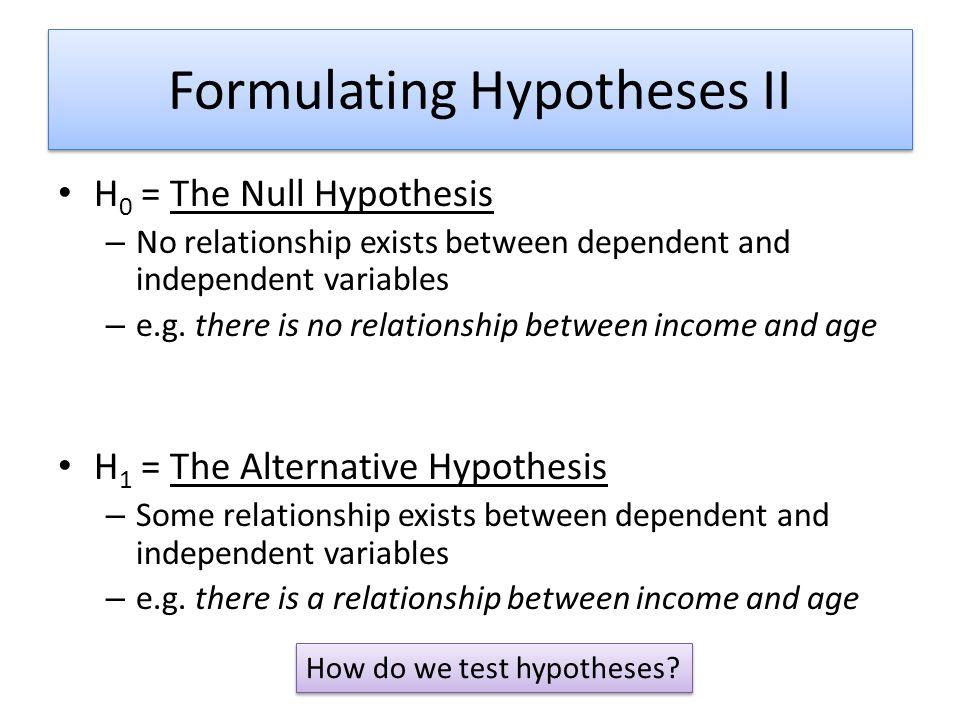 Formulating Hypotheses II