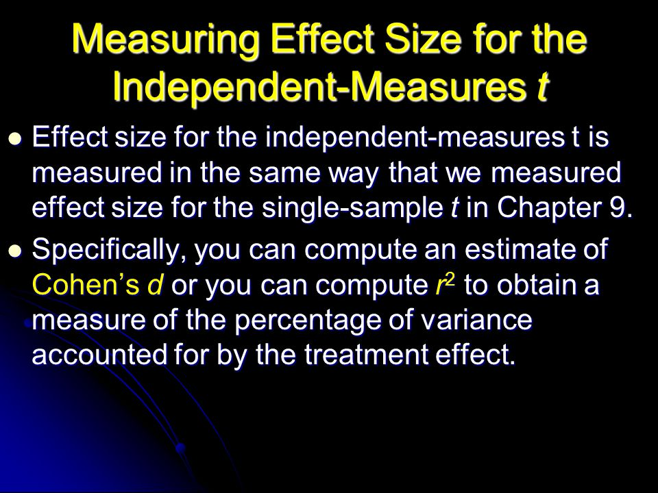 Measuring Effect Size for the Independent-Measures t