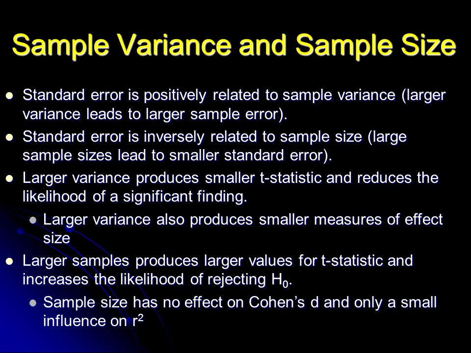 Sample Variance and Sample Size