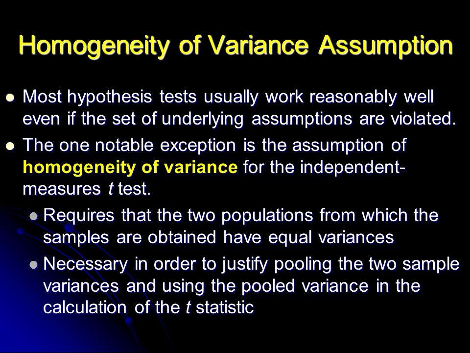 Homogeneity of Variance Assumption