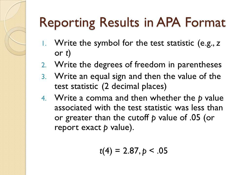 Reporting Results in APA Format