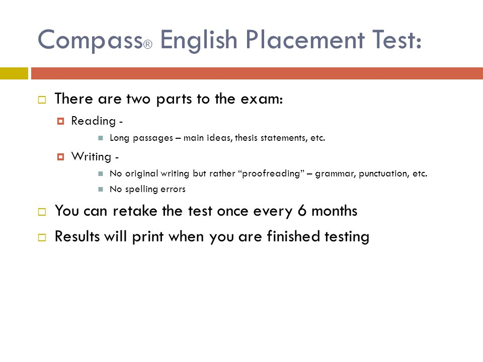 Compass® English Placement Test: