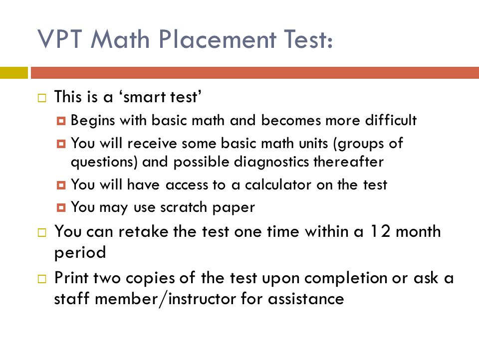 VPT Math Placement Test: