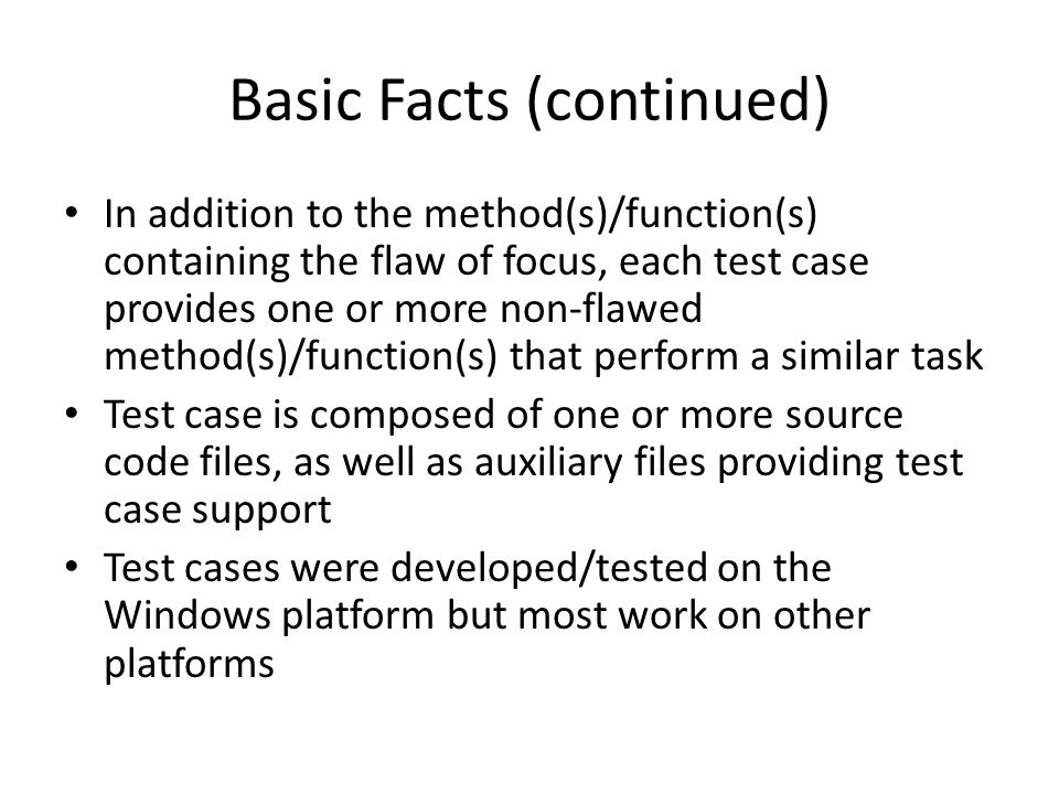 Basic Facts (continued)
