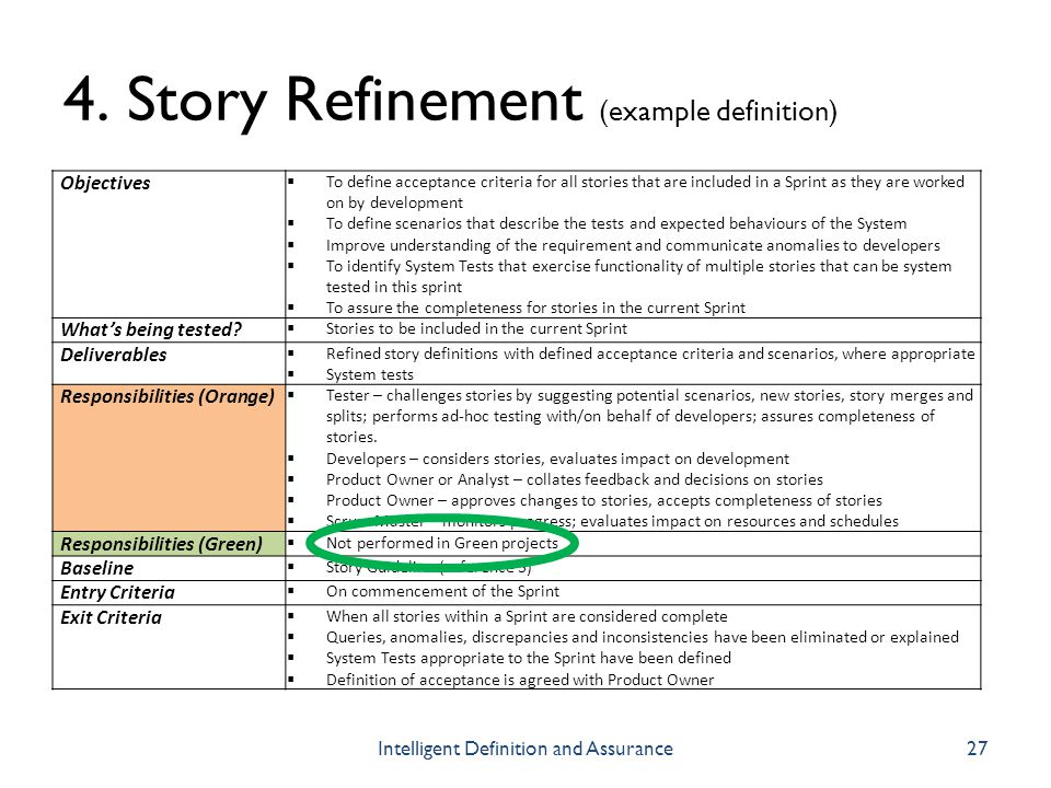 4. Story Refinement (example definition)