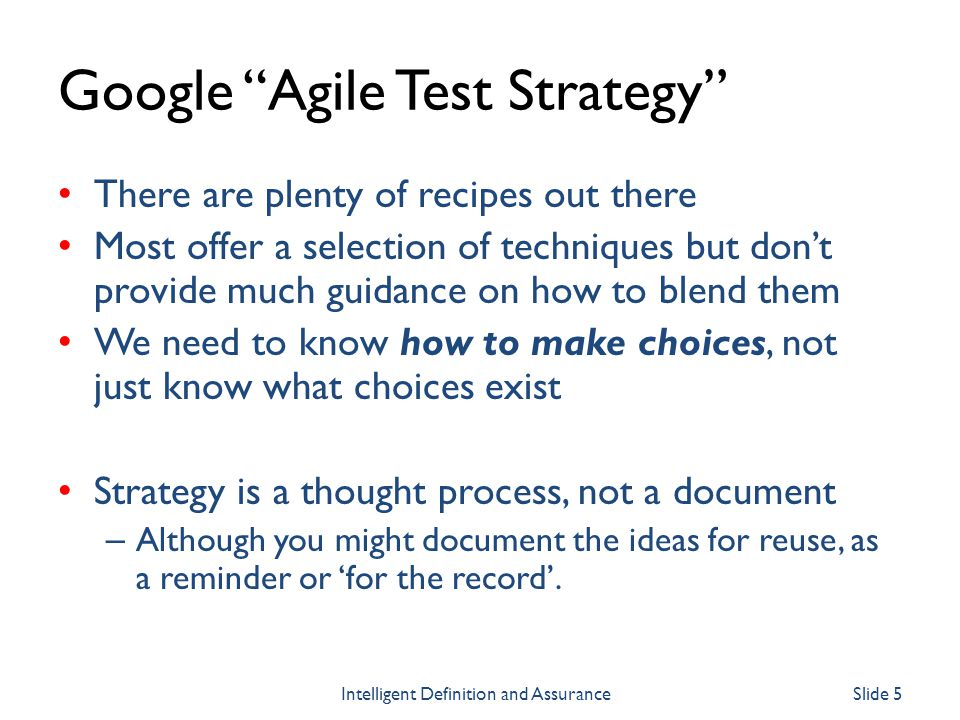 Google Agile Test Strategy
