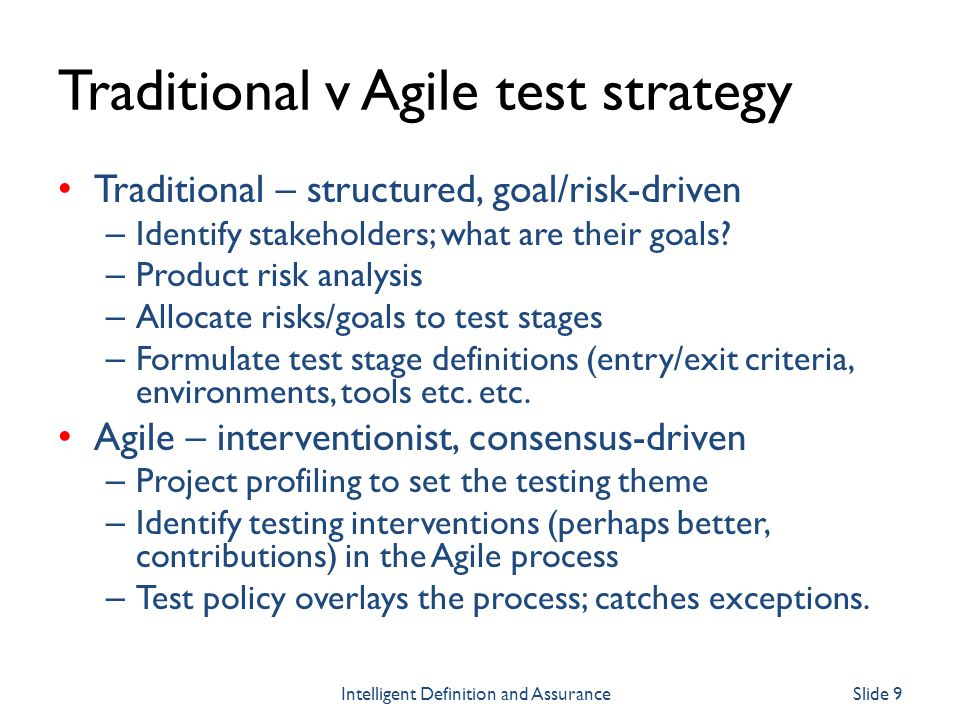 Traditional v Agile test strategy
