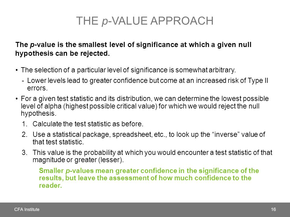The p-value approach The p-value is the smallest level of significance at which a given null hypothesis can be rejected.