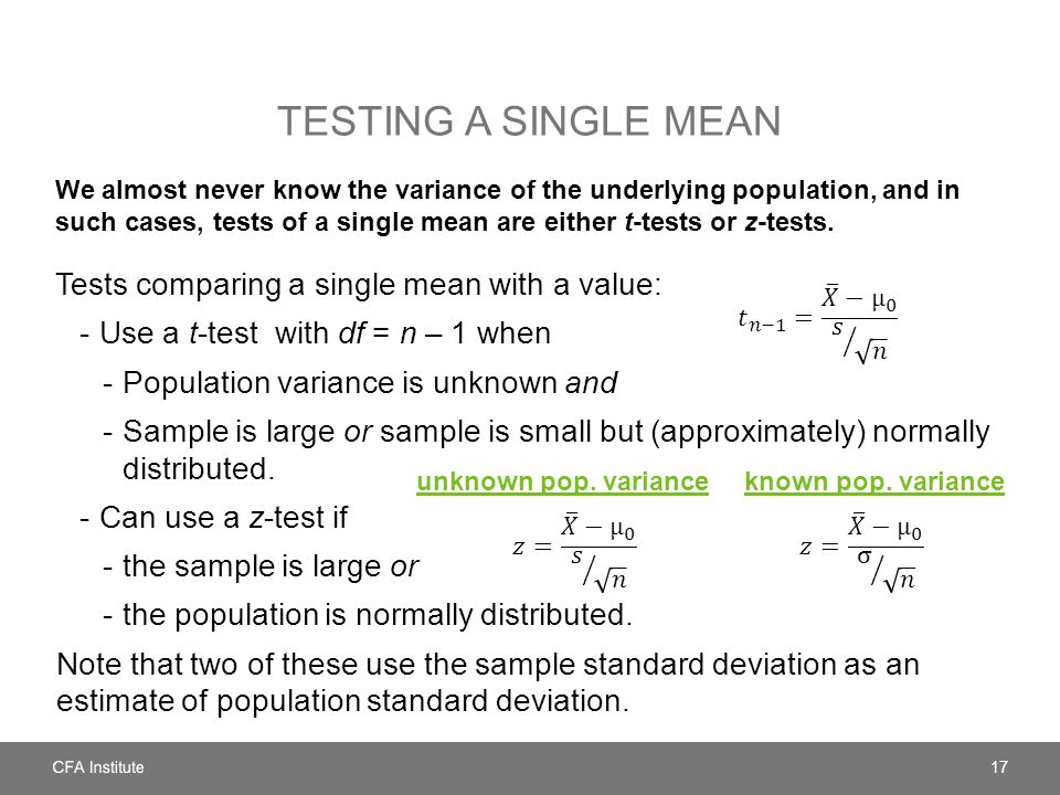 Testing a single mean Tests comparing a single mean with a value: