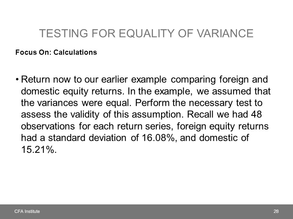 Testing for equality of variance