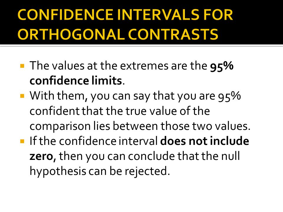 CONFIDENCE INTERVALS FOR ORTHOGONAL CONTRASTS