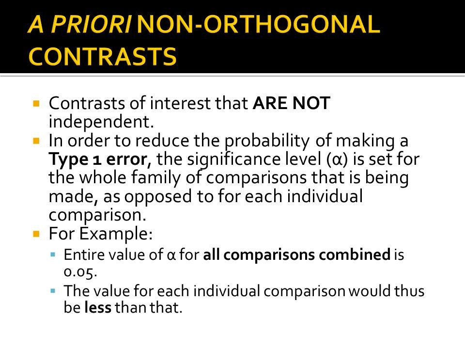 A PRIORI NON-ORTHOGONAL CONTRASTS