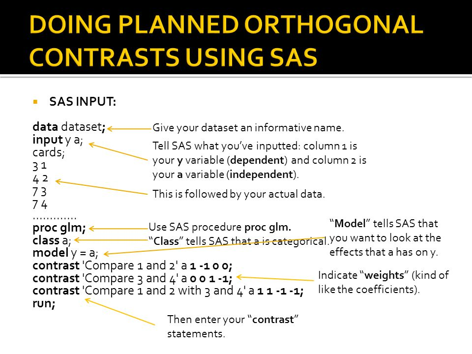 DOING PLANNED ORTHOGONAL CONTRASTS USING SAS