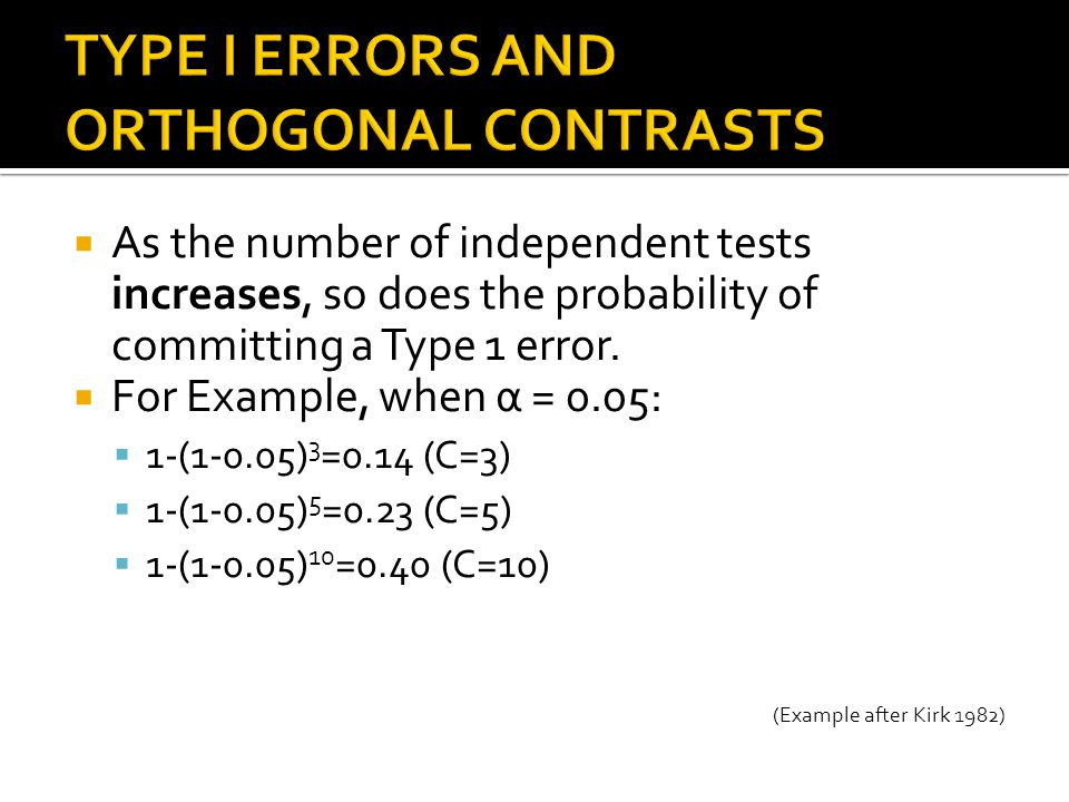 TYPE I ERRORS AND ORTHOGONAL CONTRASTS