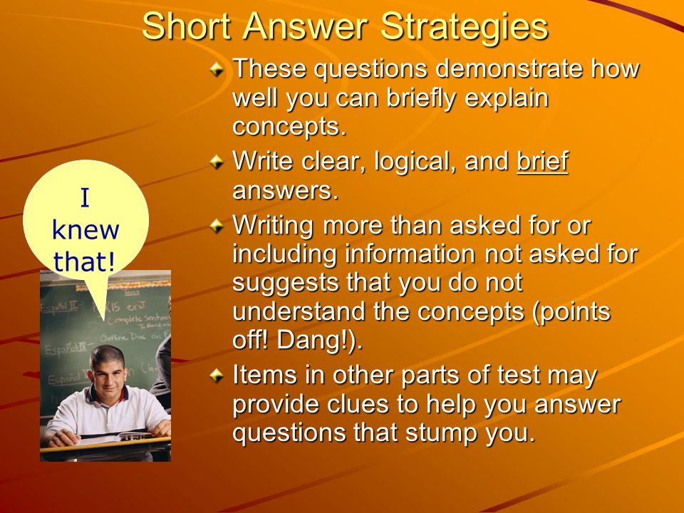Short Answer Strategies