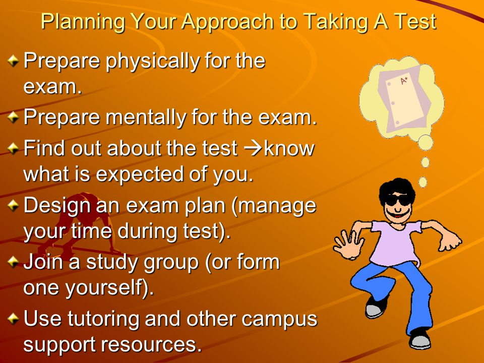 Planning Your Approach to Taking A Test