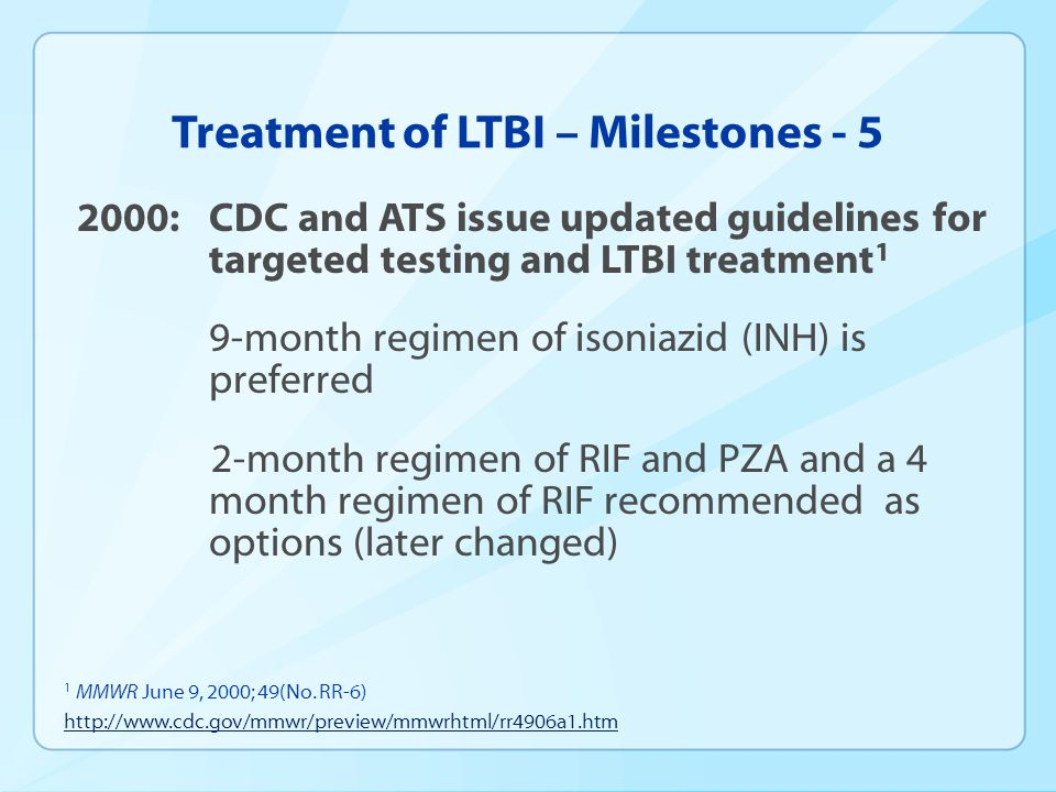 Treatment of LTBI – Milestones - 5
