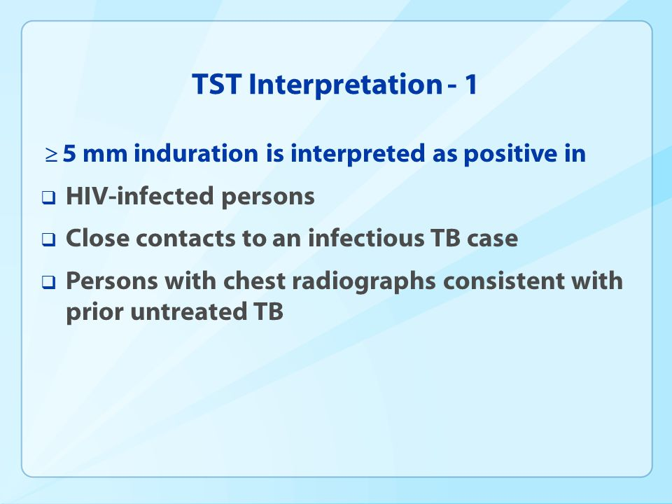 TST Interpretation - 1 HIV-infected persons