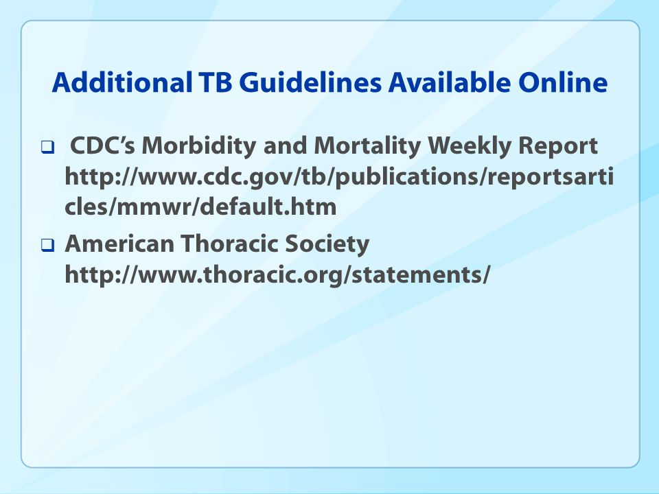 Additional TB Guidelines Available Online
