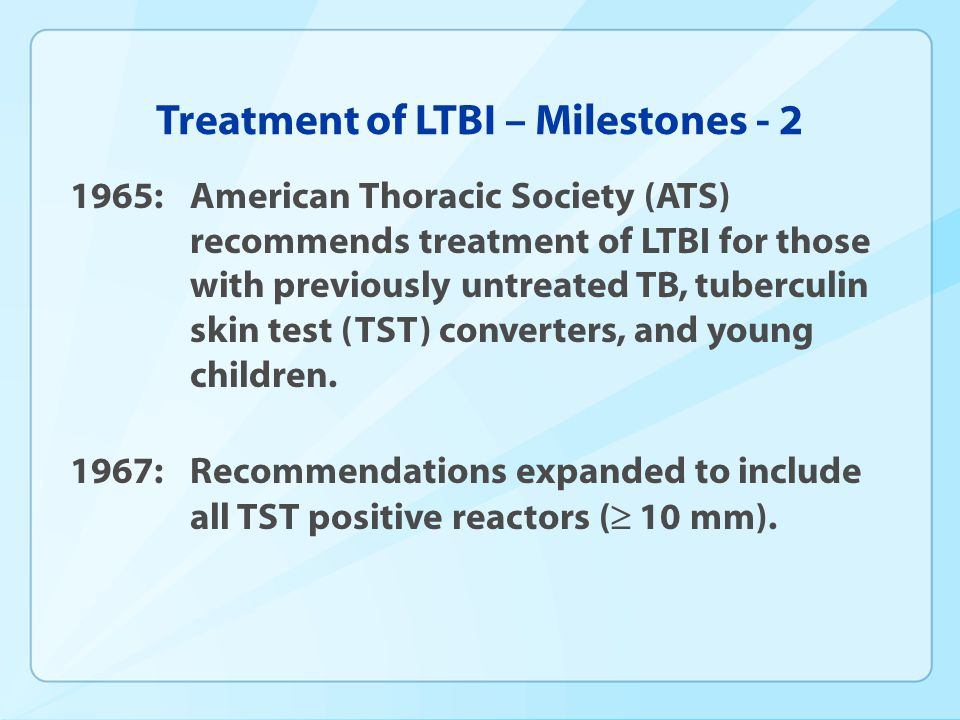 Treatment of LTBI – Milestones - 2
