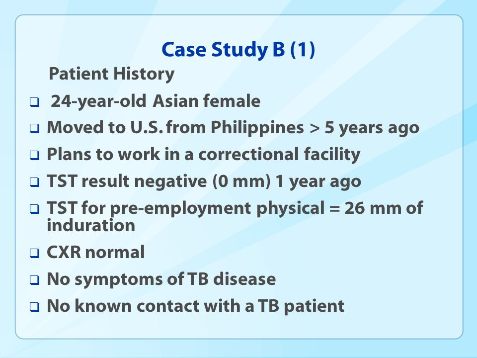 Case Study B (1) 24-year-old Asian female