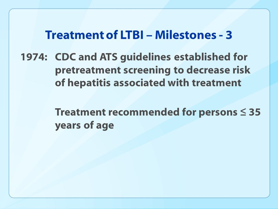 Treatment of LTBI – Milestones - 3