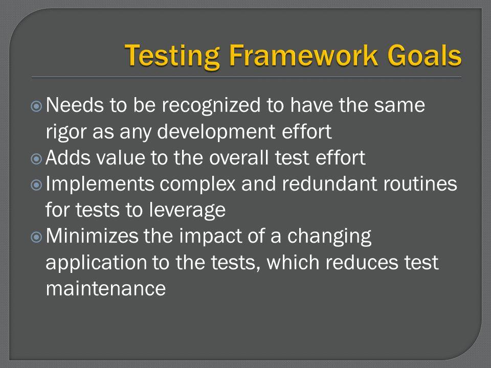 Testing Framework Goals