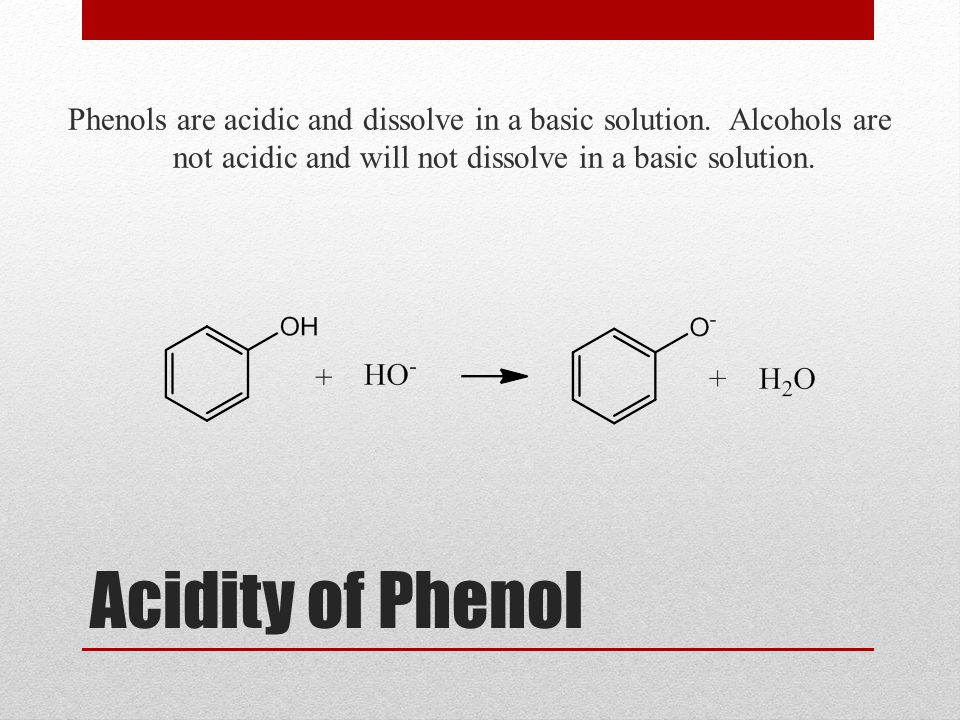 Phenols are acidic and dissolve in a basic solution
