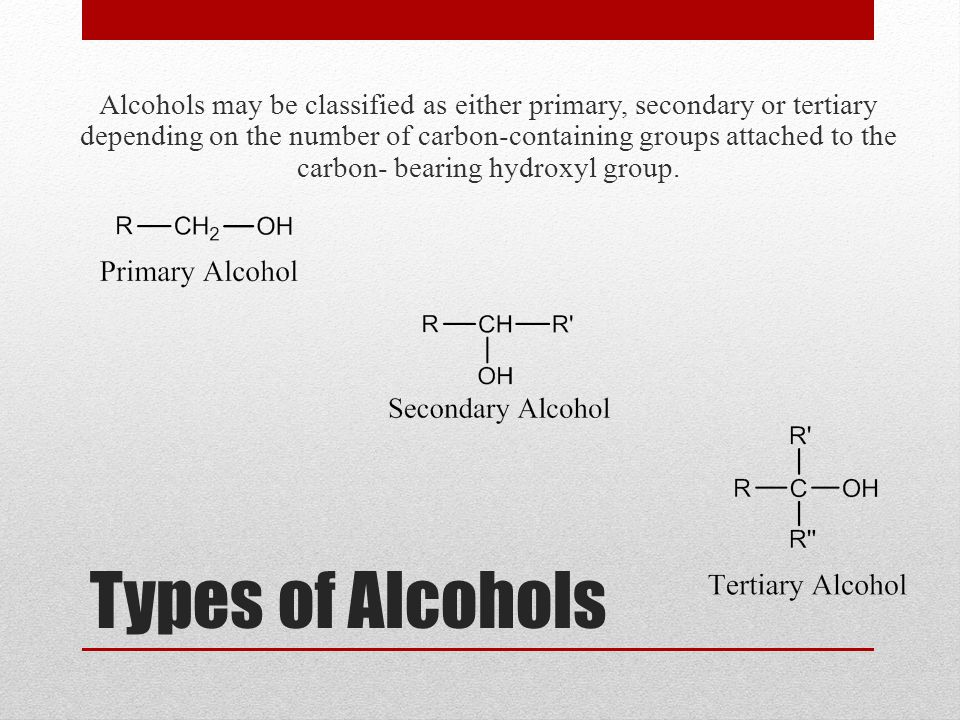 Alcohols may be classified as either primary, secondary or tertiary depending on the number of carbon-containing groups attached to the carbon- bearing hydroxyl group.