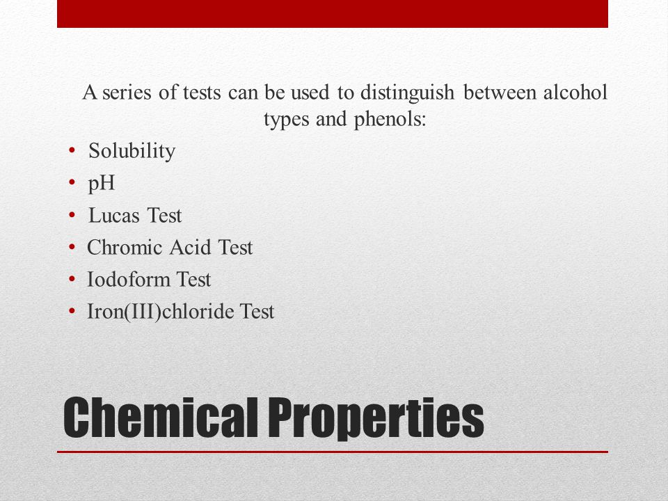 A series of tests can be used to distinguish between alcohol types and phenols: