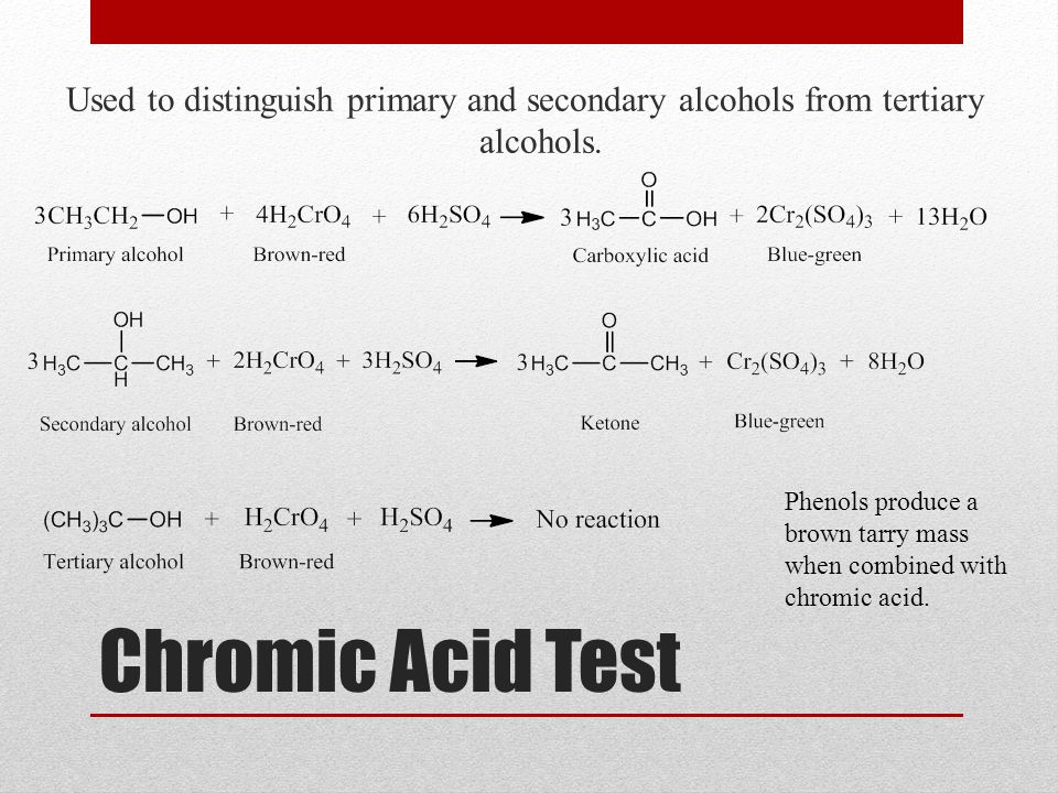 Used to distinguish primary and secondary alcohols from tertiary alcohols.