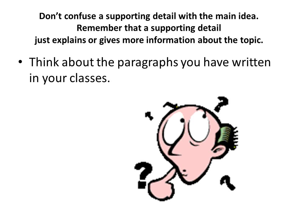 Think about the paragraphs you have written in your classes.