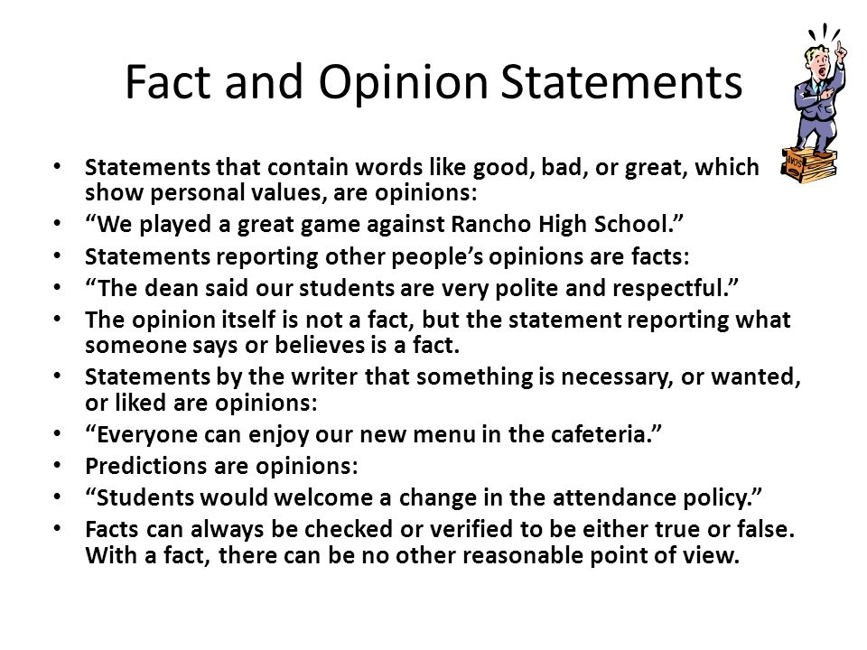 Fact and Opinion Statements