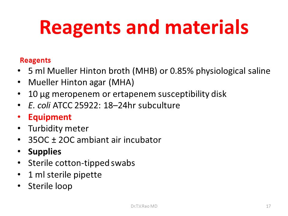 Reagents and materials