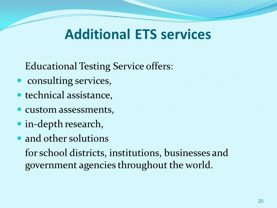 Additional ETS services
